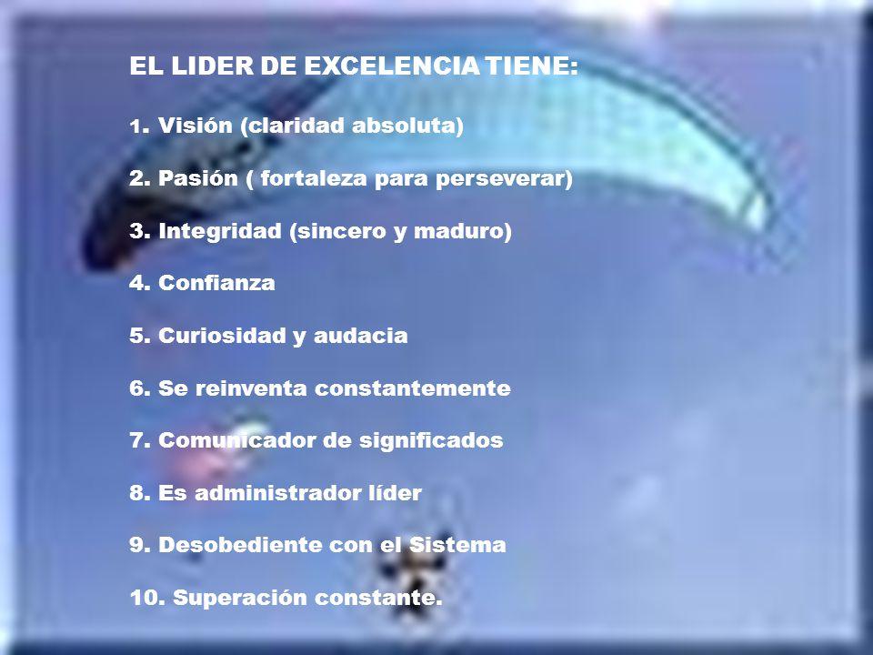 EL LIDER DE EXCELENCIA TIENE: 1. Visión (claridad absoluta) 2. Pasión ( fortaleza para perseverar) 3. Integridad (sincero y maduro) 4. Confianza 5. Cu