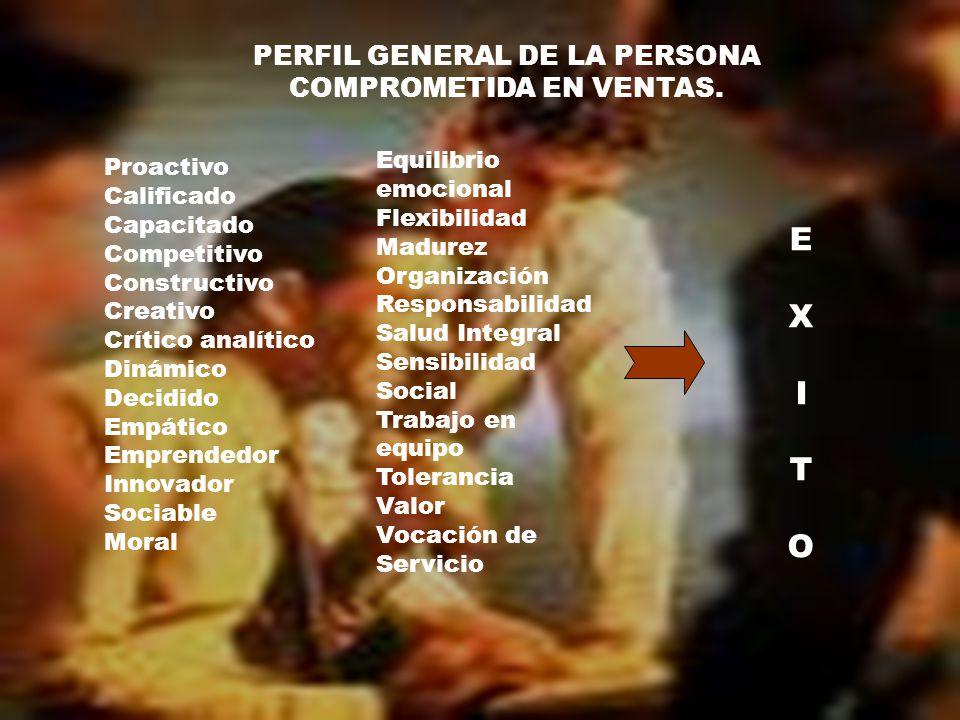 PERFIL GENERAL DE LA PERSONA COMPROMETIDA EN VENTAS.
