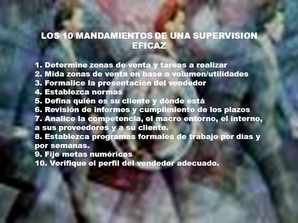 LOS 10 MANDAMIENTOS DE UNA SUPERVISION EFICAZ 1. Determine zonas de venta y tareas a realizar 2.