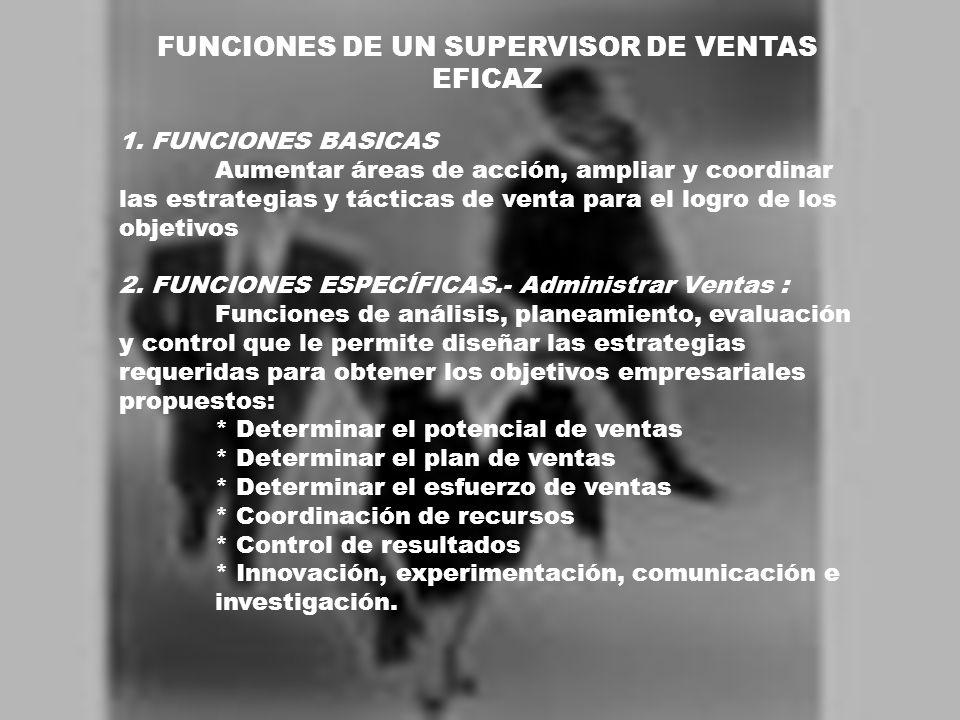 FUNCIONES DE UN SUPERVISOR DE VENTAS EFICAZ 1. FUNCIONES BASICAS Aumentar áreas de acción, ampliar y coordinar las estrategias y tácticas de venta par