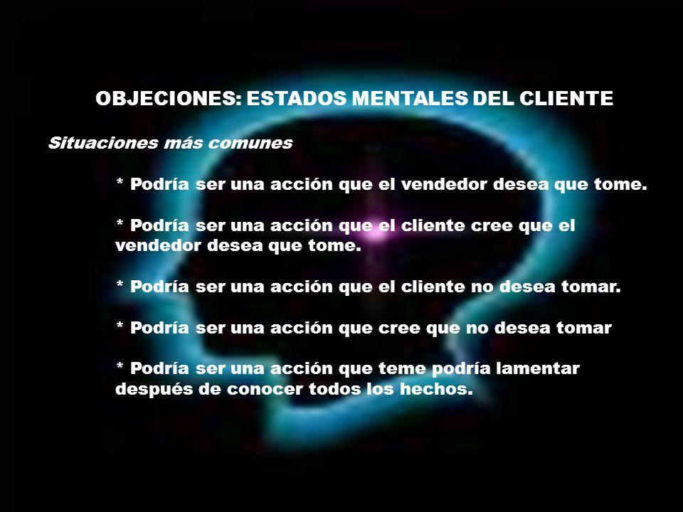 OBJECIONES: ESTADOS MENTALES DEL CLIENTE Situaciones más comunes * Podría ser una acción que el vendedor desea que tome.
