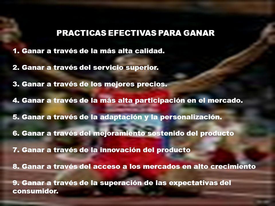 PRACTICAS EFECTIVAS PARA GANAR 1. Ganar a través de la más alta calidad. 2. Ganar a través del servicio superior. 3. Ganar a través de los mejores pre