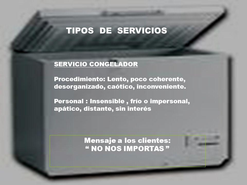 TIPOS DE SERVICIOS SERVICIO CONGELADOR Procedimiento: Lento, poco coherente, desorganizado, caótico, inconveniente. Personal : Insensible, frío o impe
