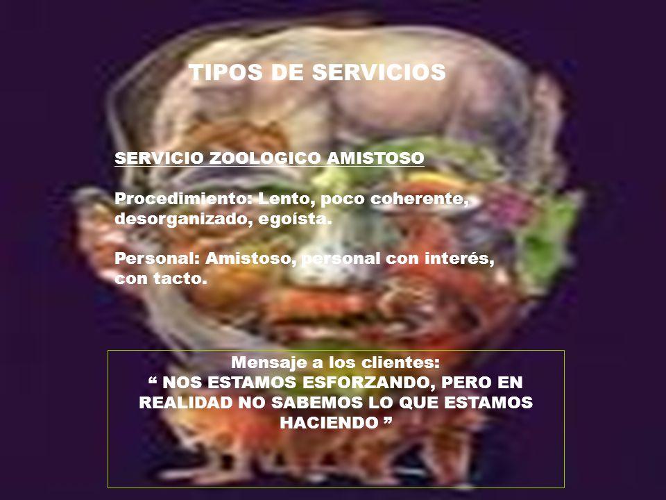 TIPOS DE SERVICIOS SERVICIO ZOOLOGICO AMISTOSO Procedimiento: Lento, poco coherente, desorganizado, egoísta. Personal: Amistoso, personal con interés,