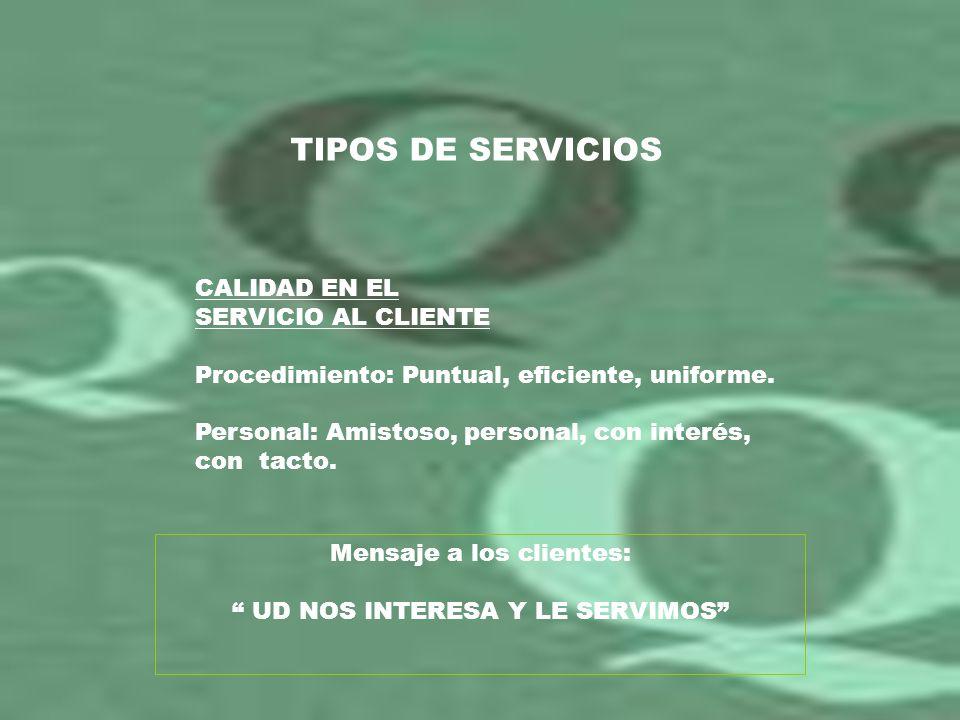 TIPOS DE SERVICIOS CALIDAD EN EL SERVICIO AL CLIENTE Procedimiento: Puntual, eficiente, uniforme. Personal: Amistoso, personal, con interés, con tacto
