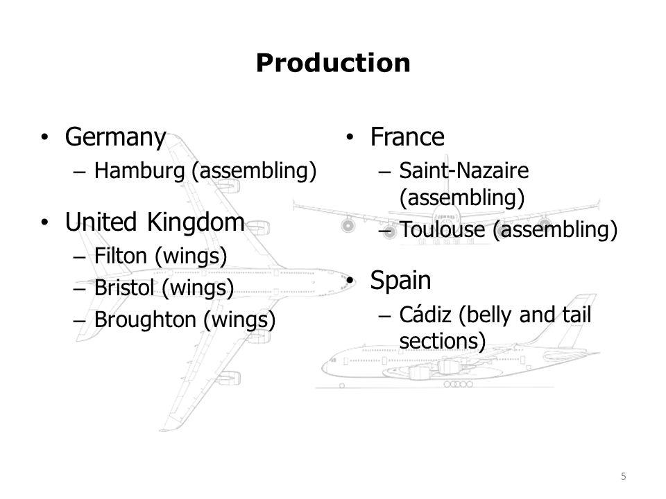 Production Germany – Hamburg (assembling) United Kingdom – Filton (wings) – Bristol (wings) – Broughton (wings) France – Saint-Nazaire (assembling) –