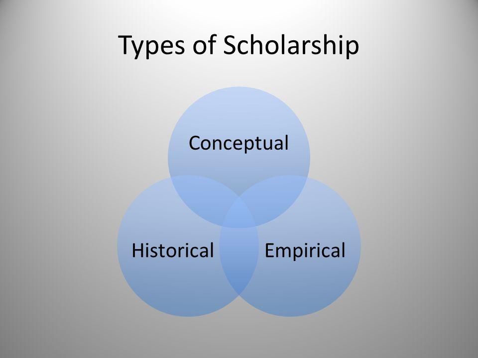 Types of Scholarship Conceptual EmpiricalHistorical