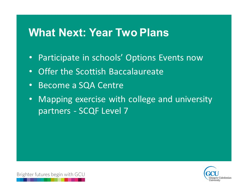 Participate in schools' Options Events now Offer the Scottish Baccalaureate Become a SQA Centre Mapping exercise with college and university partners - SCQF Level 7 What Next: Year Two Plans