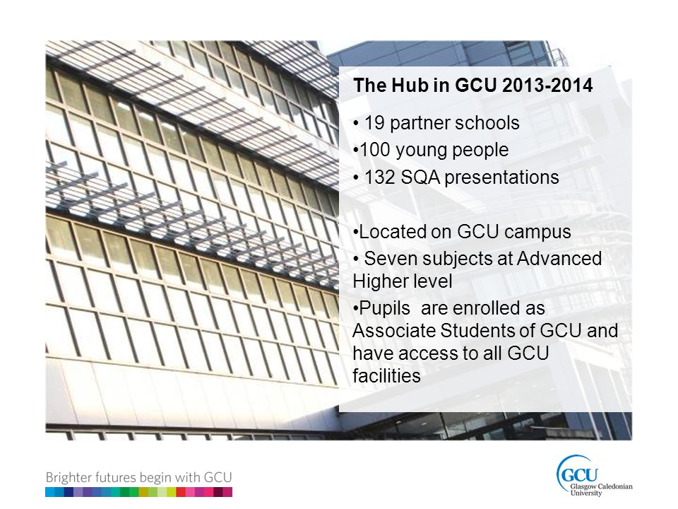 The Hub in GCU 2013-2014 19 partner schools 100 young people 132 SQA presentations Located on GCU campus Seven subjects at Advanced Higher level Pupils are enrolled as Associate Students of GCU and have access to all GCU facilities
