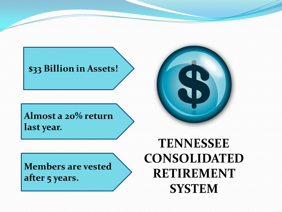 TENNESSEE CONSOLIDATED RETIREMENT SYSTEM $33 Billion in Assets! Almost a 20% return last year. Members are vested after 5 years.