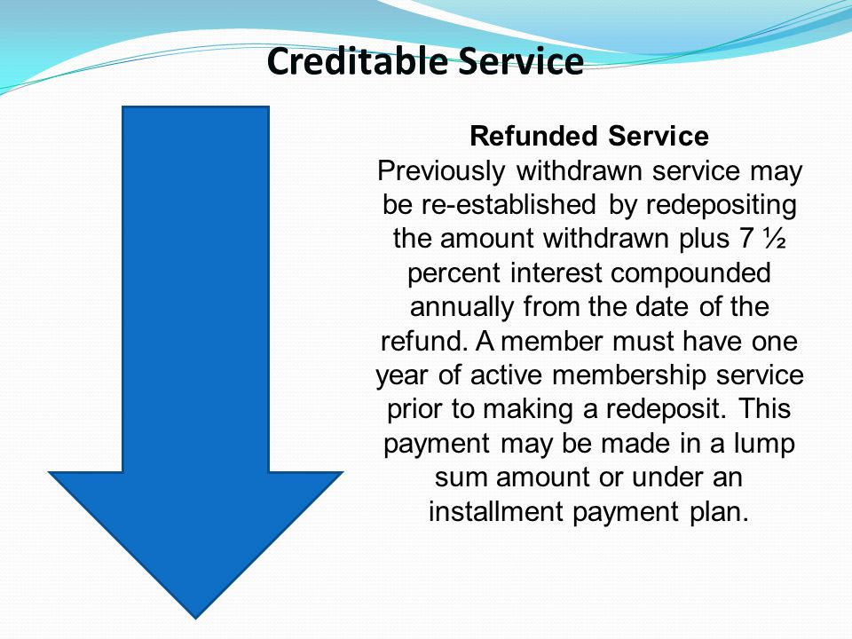 Creditable Service Refunded Service Previously withdrawn service may be re-established by redepositing the amount withdrawn plus 7 ½ percent interest