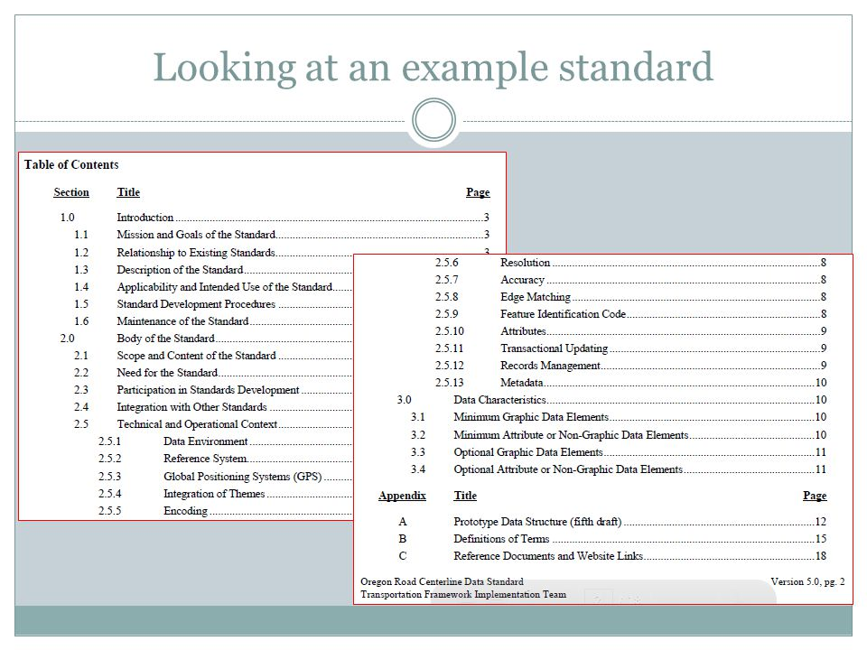 Looking at an example standard