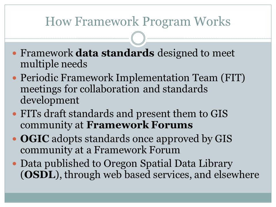 How Framework Program Works Framework data standards designed to meet multiple needs Periodic Framework Implementation Team (FIT) meetings for collaboration and standards development FITs draft standards and present them to GIS community at Framework Forums OGIC adopts standards once approved by GIS community at a Framework Forum Data published to Oregon Spatial Data Library (OSDL), through web based services, and elsewhere