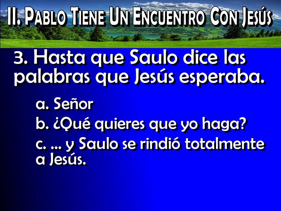 3. Hasta que Saulo dice las palabras que Jesús esperaba. a. Señor b. ¿Qué quieres que yo haga? c. … y Saulo se rindió totalmente a Jesús.