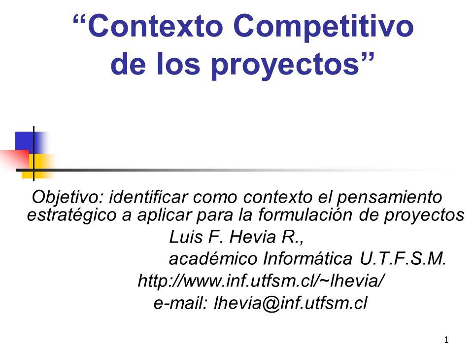 """1 """"Contexto Competitivo de los proyectos"""" Objetivo: identificar como contexto el pensamiento estratégico a aplicar para la formulación de proyectos Lu"""