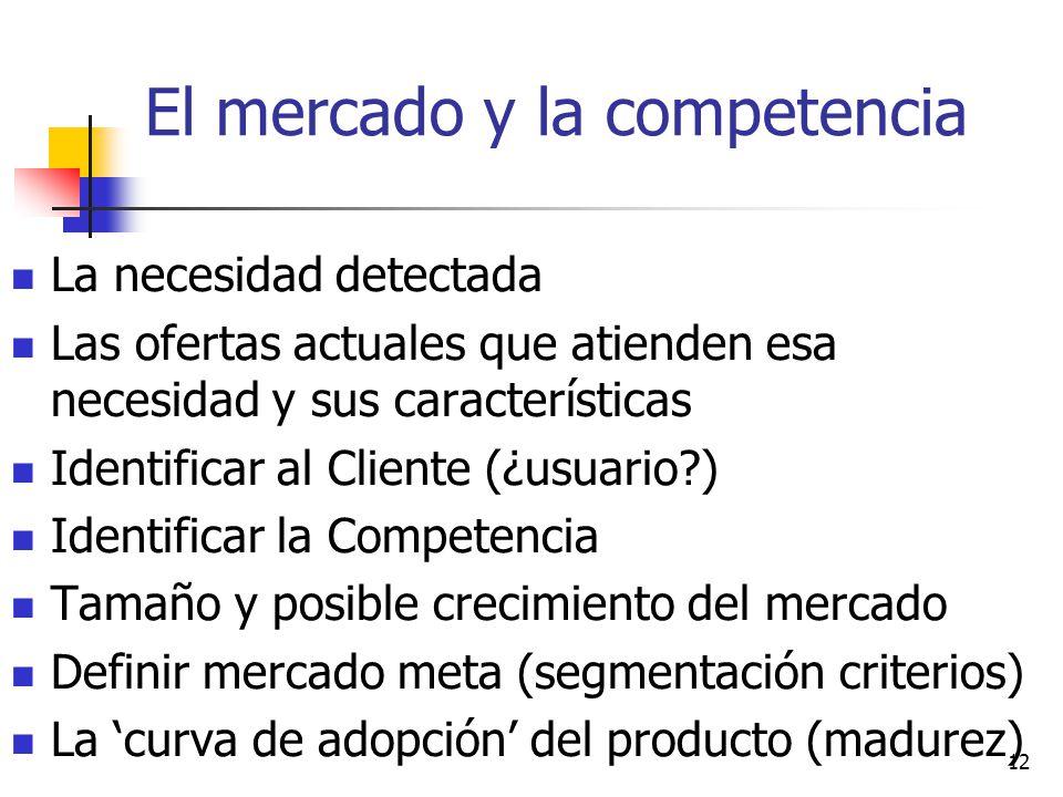 12 El mercado y la competencia La necesidad detectada Las ofertas actuales que atienden esa necesidad y sus características Identificar al Cliente (¿u