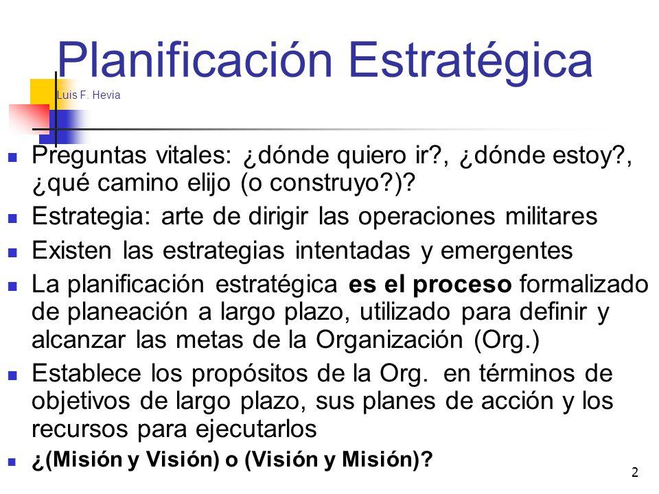 2 Planificación Estratégica Luis F. Hevia Preguntas vitales: ¿dónde quiero ir?, ¿dónde estoy?, ¿qué camino elijo (o construyo?)? Estrategia: arte de d