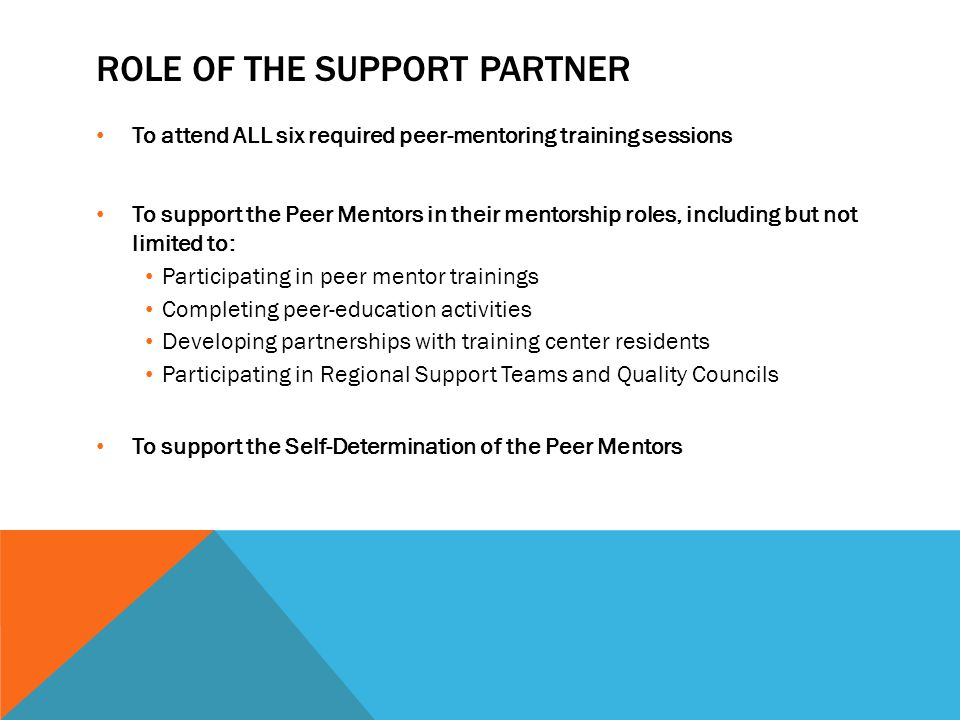 ROLE OF THE SUPPORT PARTNER To attend ALL six required peer-mentoring training sessions To support the Peer Mentors in their mentorship roles, including but not limited to: Participating in peer mentor trainings Completing peer-education activities Developing partnerships with training center residents Participating in Regional Support Teams and Quality Councils To support the Self-Determination of the Peer Mentors