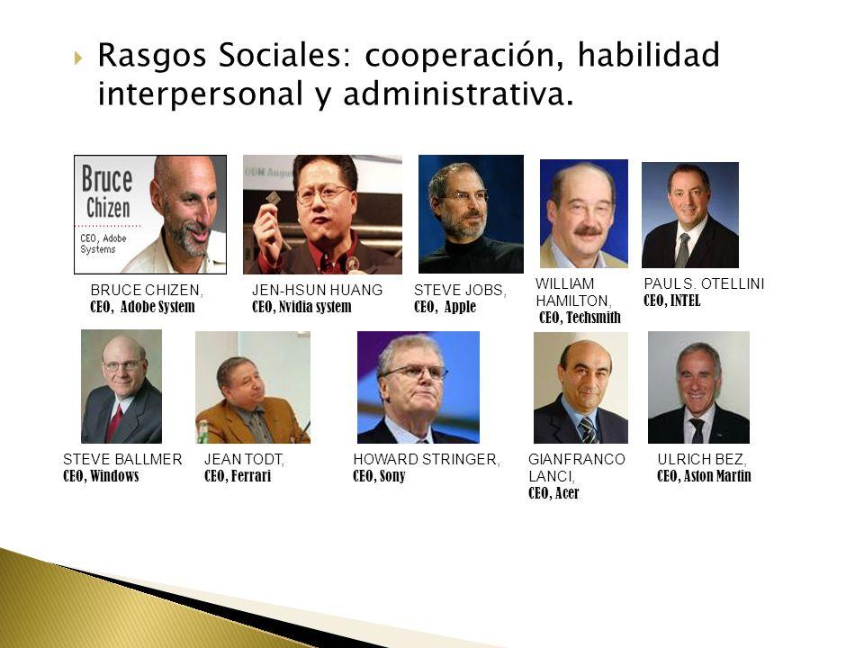  Rasgos Sociales: cooperación, habilidad interpersonal y administrativa.