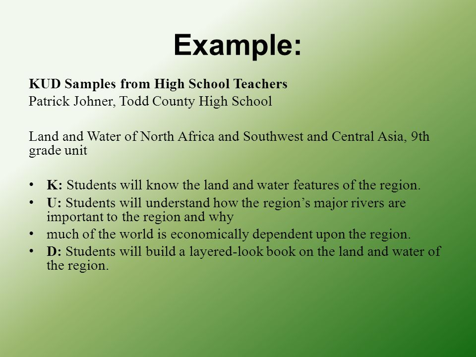 Example: KUD Samples from High School Teachers Patrick Johner, Todd County High School Land and Water of North Africa and Southwest and Central Asia,