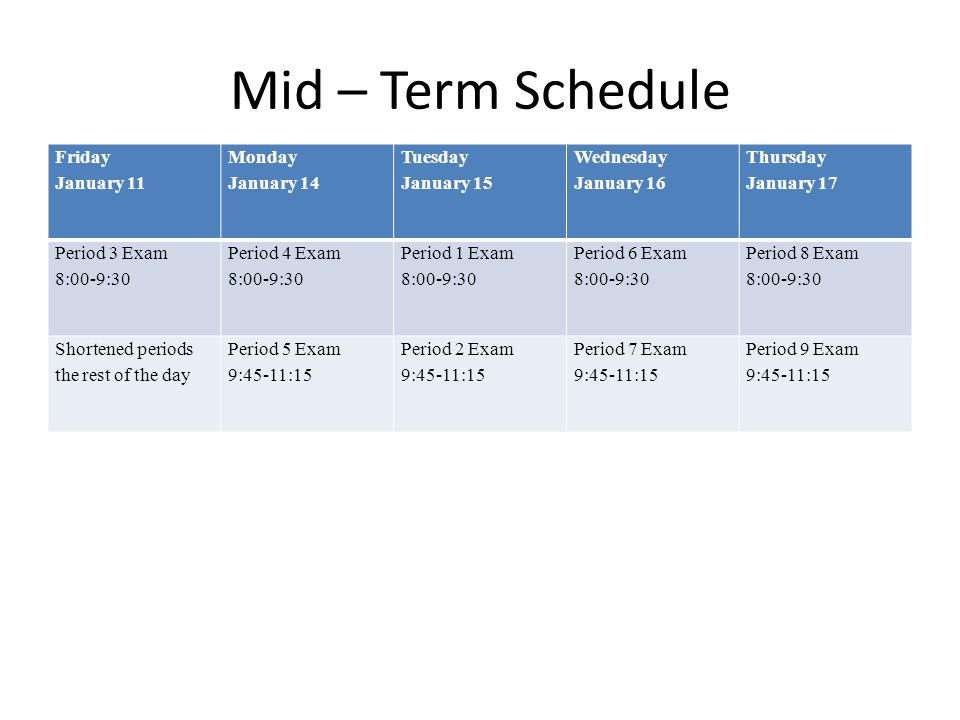 Mid – Term Schedule Friday January 11 Monday January 14 Tuesday January 15 Wednesday January 16 Thursday January 17 Period 3 Exam 8:00-9:30 Period 4 Exam 8:00-9:30 Period 1 Exam 8:00-9:30 Period 6 Exam 8:00-9:30 Period 8 Exam 8:00-9:30 Shortened periods the rest of the day Period 5 Exam 9:45-11:15 Period 2 Exam 9:45-11:15 Period 7 Exam 9:45-11:15 Period 9 Exam 9:45-11:15