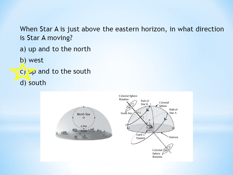 When Star A is just above the eastern horizon, in what direction is Star A moving? a) up and to the north b) west c) up and to the south d) south