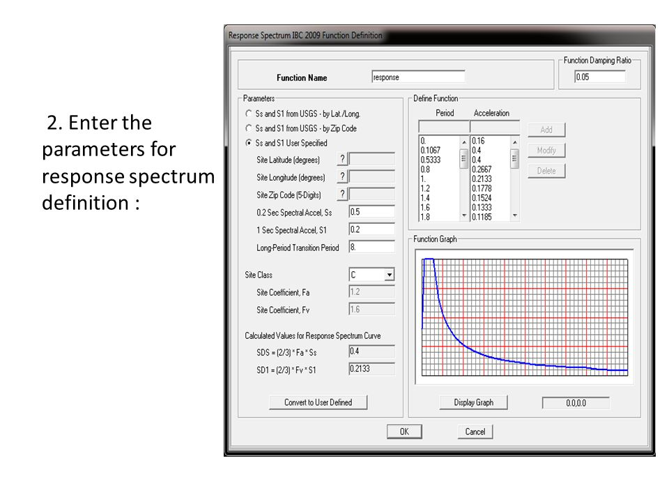 2. Enter the parameters for response spectrum definition :