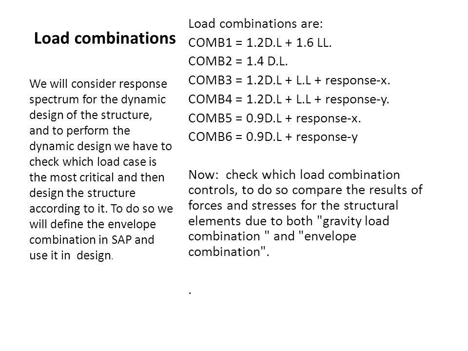 Load combinations Load combinations are: COMB1 = 1.2D.L + 1.6 LL.