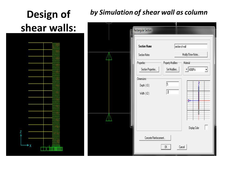 Design of shear walls: by Simulation of shear wall as column