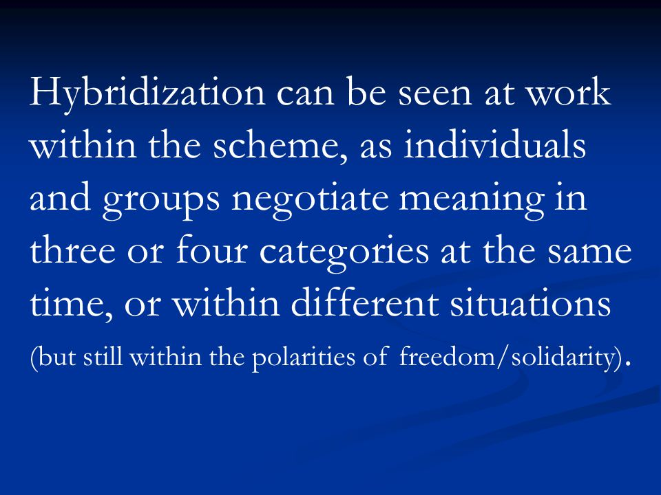 Hybridization can be seen at work within the scheme, as individuals and groups negotiate meaning in three or four categories at the same time, or within different situations (but still within the polarities of freedom/solidarity).