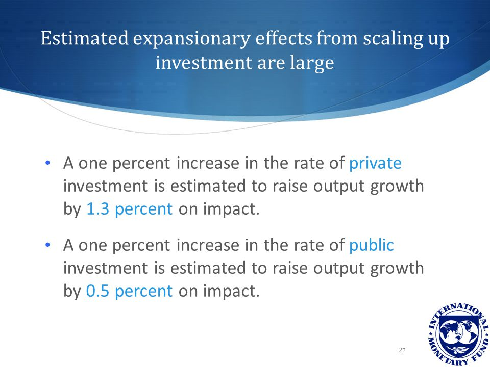 Estimated expansionary effects from scaling up investment are large 27 A one percent increase in the rate of private investment is estimated to raise