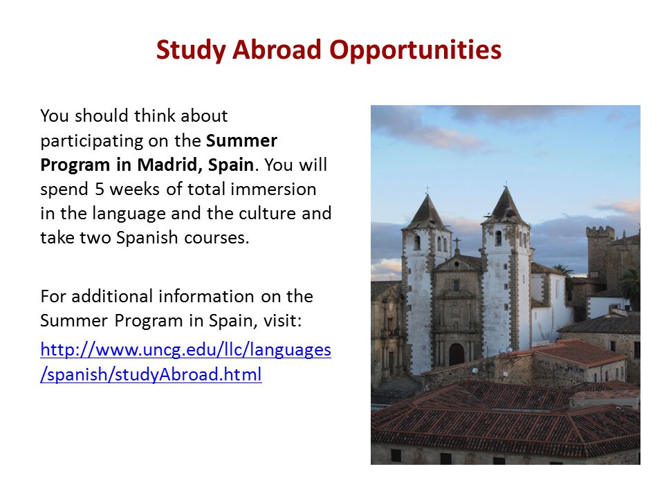 Study Abroad Opportunities You should think about participating on the Summer Program in Madrid, Spain.