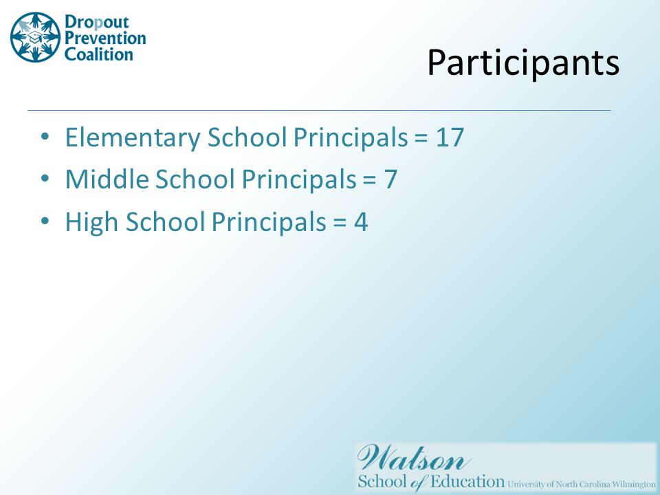 Participants Elementary School Principals = 17 Middle School Principals = 7 High School Principals = 4