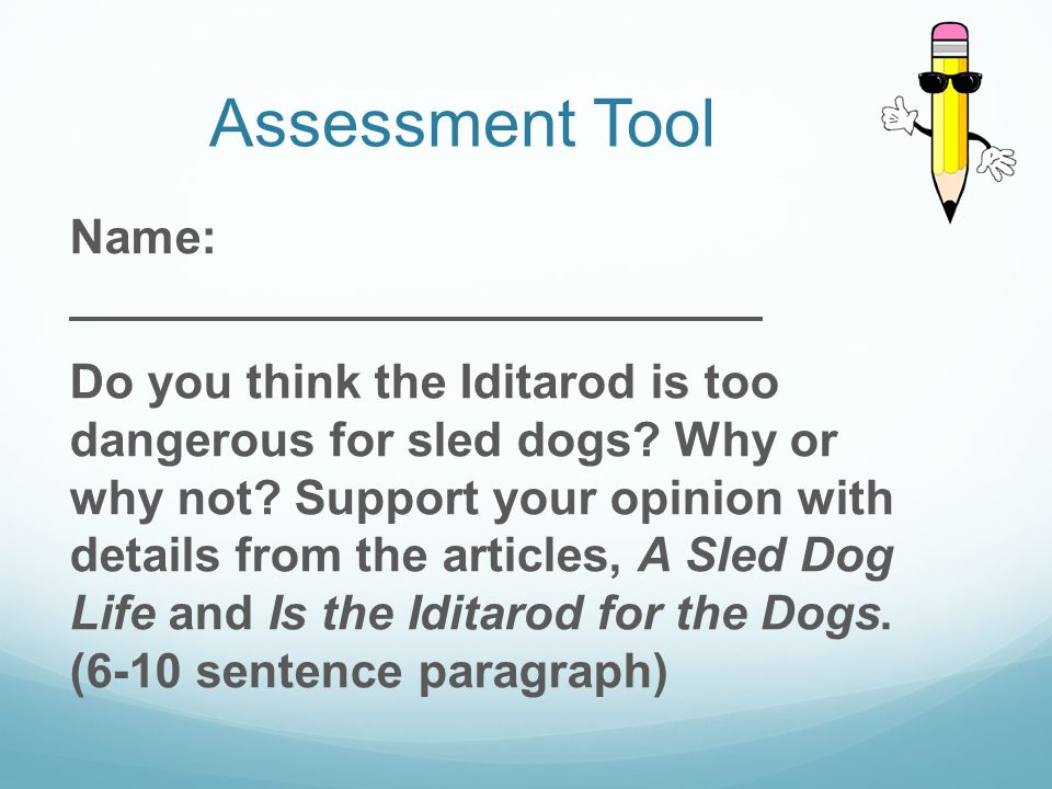 Teacher Exemplar Did you know some dogs that run the Iditarod race, which takes place in Alaska, die each year.