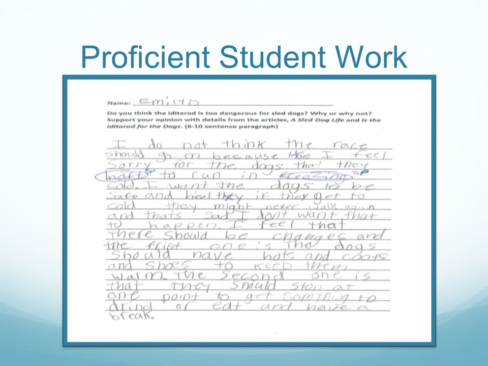 Proficient Student Work Rubric Attributes Attribute2 Clear, well organized, well developed ideas (Weight: 1 point) Your paragraph has 2 details from the passage Is the Iditarod for the Dogs