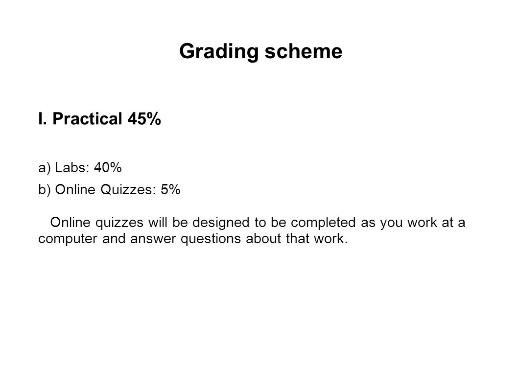 Grading scheme I. Practical 45% a) Labs: 40% b) Online Quizzes: 5% Online quizzes will be designed to be completed as you work at a computer and answe
