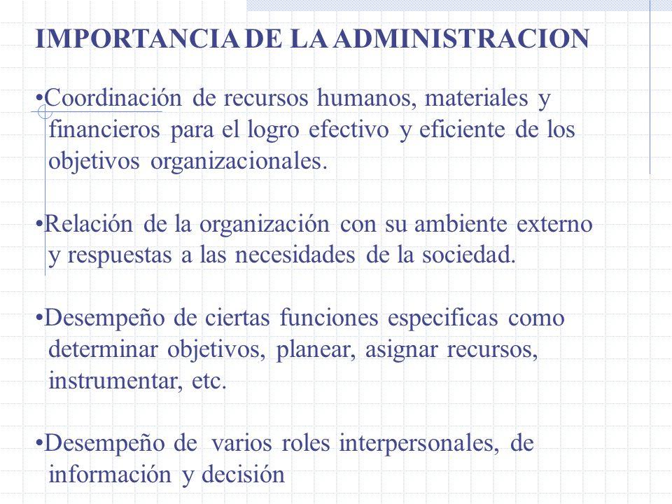 IMPORTANCIA DE LA ADMINISTRACION Coordinación de recursos humanos, materiales y financieros para el logro efectivo y eficiente de los objetivos organizacionales.