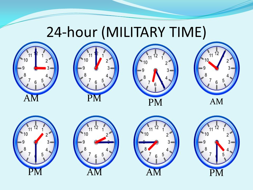 24-hour (MILITARY TIME) AMPM AM PM AM PM
