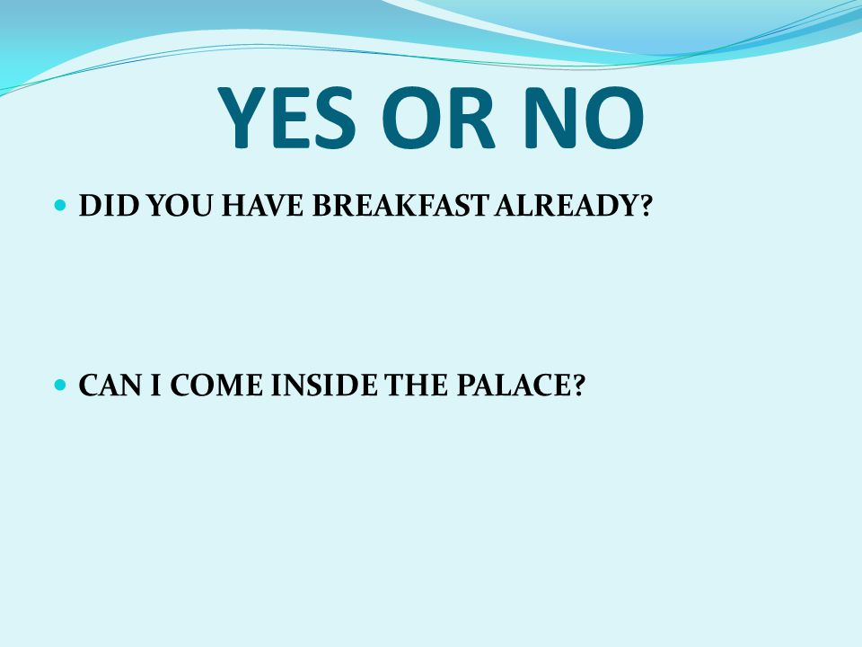 YES OR NO DID YOU HAVE BREAKFAST ALREADY? CAN I COME INSIDE THE PALACE?