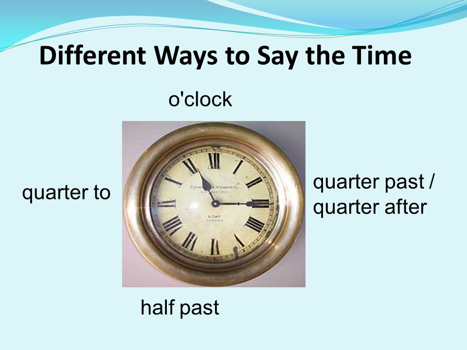 Different Ways to Say the Time o clock quarter to half past quarter past / quarter after