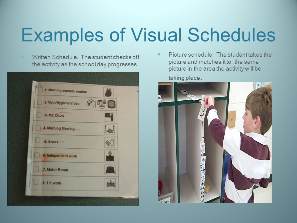 Examples of Visual Schedules Written Schedule.