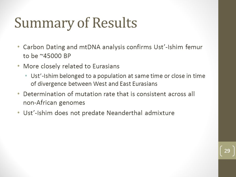 Summary of Results Carbon Dating and mtDNA analysis confirms Ust'-Ishim femur to be ~45000 BP More closely related to Eurasians Ust'-Ishim belonged to a population at same time or close in time of divergence between West and East Eurasians Determination of mutation rate that is consistent across all non-African genomes Ust'-Ishim does not predate Neanderthal admixture 29