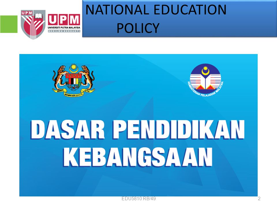 NATIONAL EDUCATION POLICY 2EDU5810 RB/49