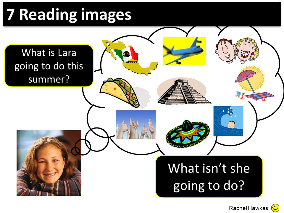 What is Lara going to do this summer? What isn't she going to do? Rachel Hawkes 7 Reading images