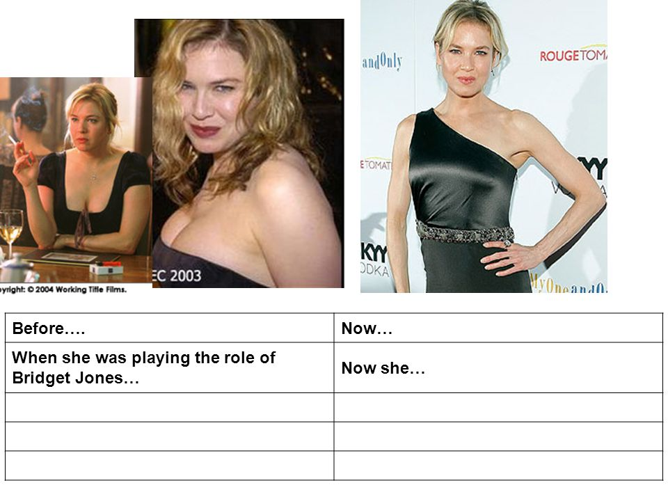 Before….Now… When she was playing the role of Bridget Jones… Now she…