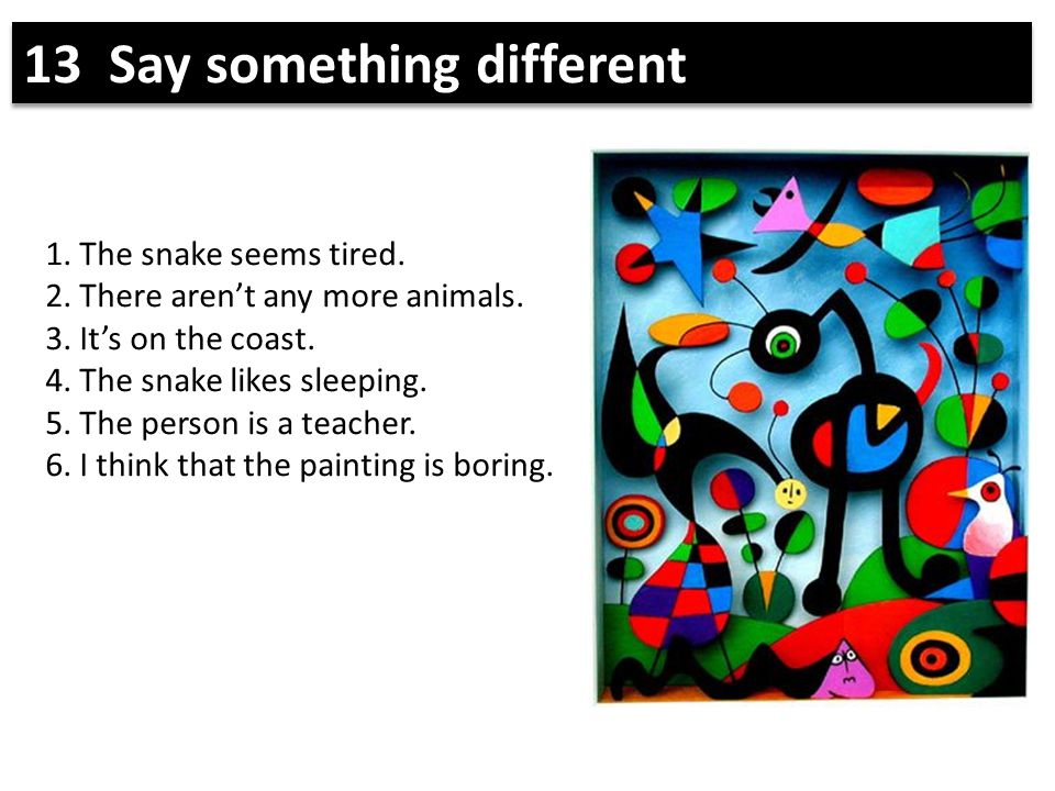 1. The snake seems tired. 2. There aren't any more animals. 3. It's on the coast. 4. The snake likes sleeping. 5. The person is a teacher. 6. I think