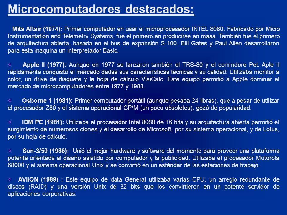 Microcomputadores destacados: Mits Altair (1974): Primer computador en usar el microprocesador INTEL 8080.