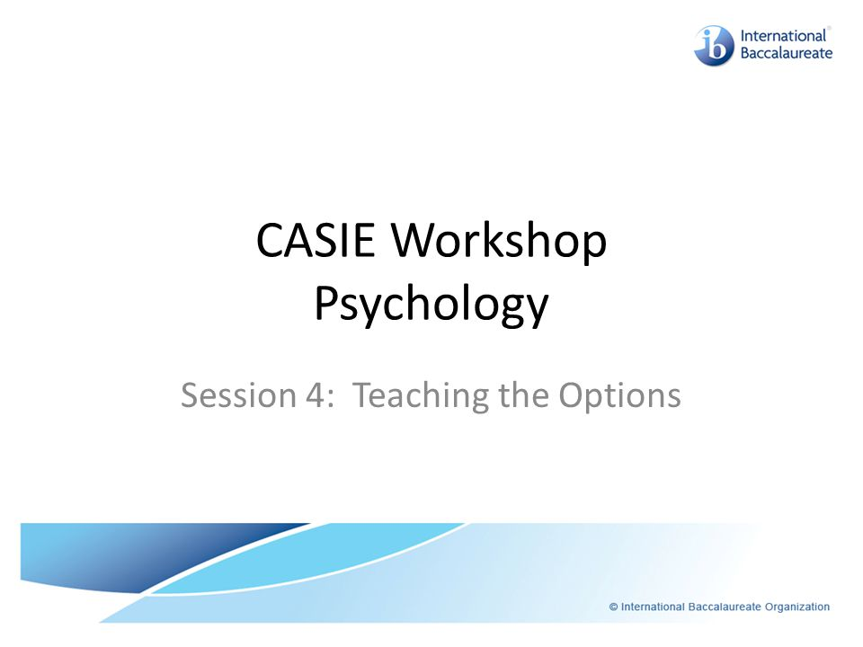 CASIE Workshop Psychology Session 4: Teaching the Options