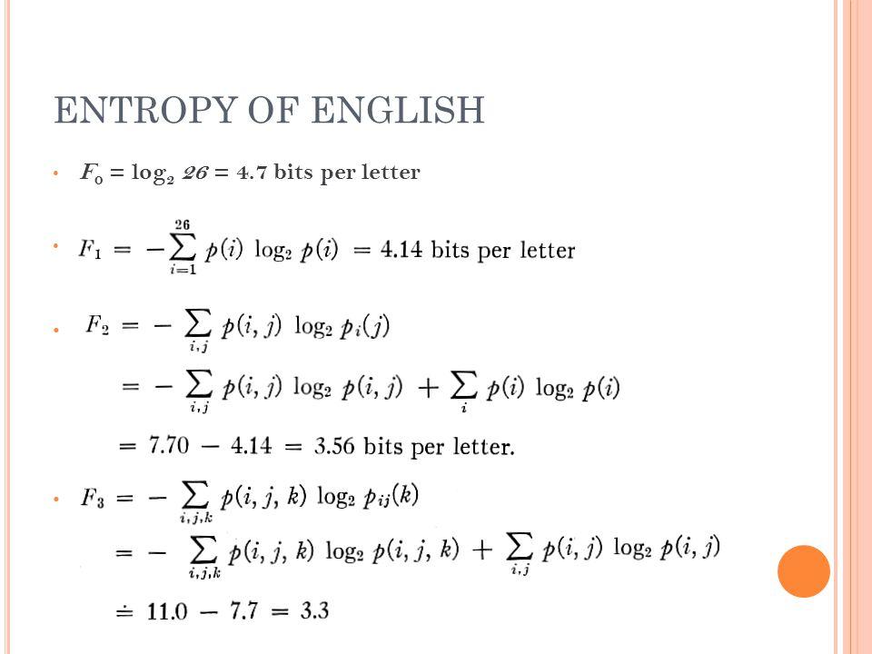 ENTROPY OF ENGLISH F 0 = log 2 26 = 4.7 bits per letter