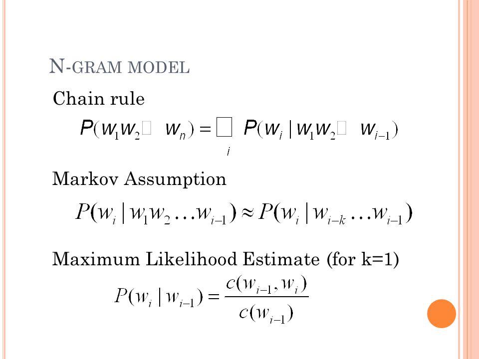 N- GRAM MODEL Chain rule Markov Assumption Maximum Likelihood Estimate (for k=1)